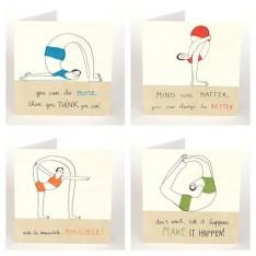 set of 4 yoga cards