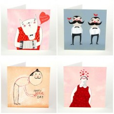 love and moustache postcard set