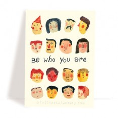 'be who you are' postcard