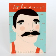 'hi handsome' postcard