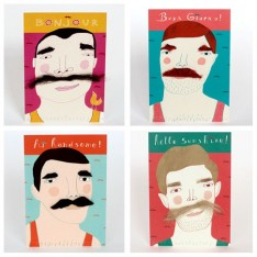 Moustache postcard set