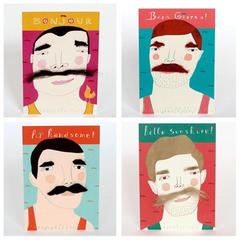 Moustache postcard set