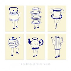 Dutch tea party postcard set