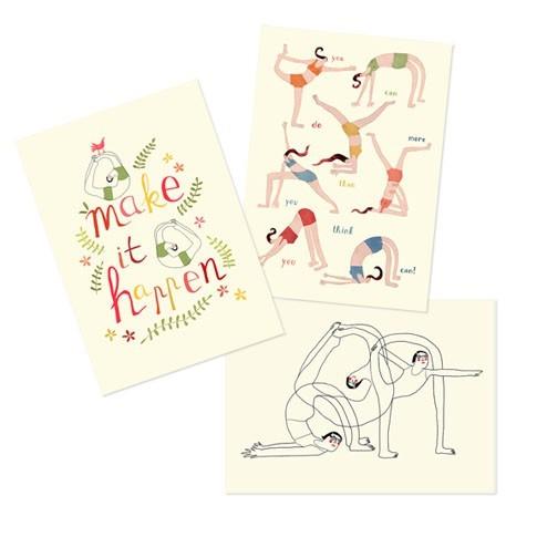set of 3 yoga mini posters