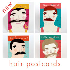 Red Cheeks factory hair postcards