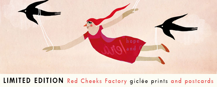 Red Cheeks Factory prints, posters and paper dolls